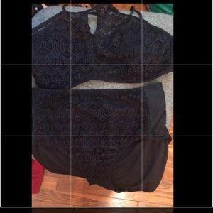 No boundaries blk crochet 2 piece bikini set XXL